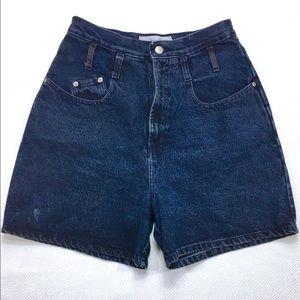 90s Vintage Anchor Blue High Waist Mom Jean Shorts